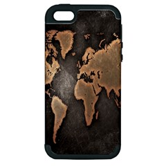 Grunge Map Of Earth Apple Iphone 5 Hardshell Case (pc+silicone)