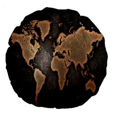Grunge Map Of Earth Large 18  Premium Round Cushions