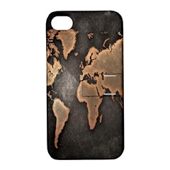 Grunge Map Of Earth Apple Iphone 4/4s Hardshell Case With Stand