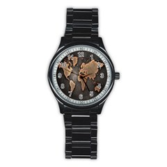 Grunge Map Of Earth Stainless Steel Round Watch