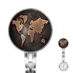 Grunge Map Of Earth Stainless Steel Nurses Watch