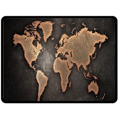 Grunge Map Of Earth Double Sided Fleece Blanket (large)