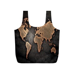 Grunge Map Of Earth Full Print Recycle Bags (s)
