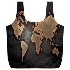 Grunge Map Of Earth Full Print Recycle Bags (l)