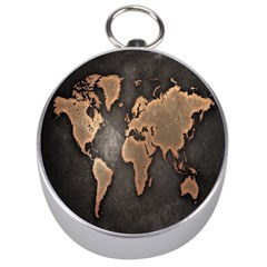 Grunge Map Of Earth Silver Compasses