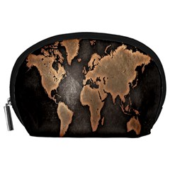 Grunge Map Of Earth Accessory Pouches (large)