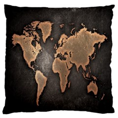 Grunge Map Of Earth Large Flano Cushion Case (Two Sides)