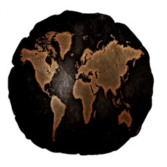 Grunge Map Of Earth Large 18  Premium Flano Round Cushions