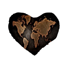 Grunge Map Of Earth Standard 16  Premium Flano Heart Shape Cushions