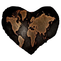 Grunge Map Of Earth Large 19  Premium Flano Heart Shape Cushions