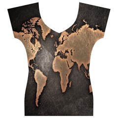 Grunge Map Of Earth Women s V-Neck Cap Sleeve Top