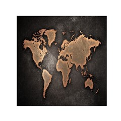 Grunge Map Of Earth Small Satin Scarf (square)