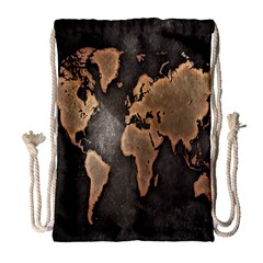 Grunge Map Of Earth Drawstring Bag (Large)
