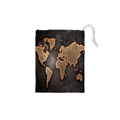 Grunge Map Of Earth Drawstring Pouches (xs)