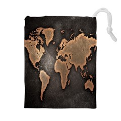 Grunge Map Of Earth Drawstring Pouches (extra Large)
