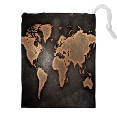 Grunge Map Of Earth Drawstring Pouches (xxl)