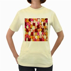 Rose Color Beautiful Flowers Women s Yellow T Shirt