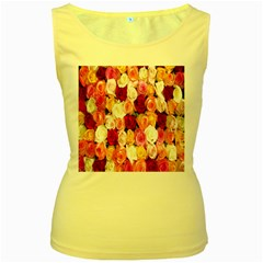 Rose Color Beautiful Flowers Women s Yellow Tank Top