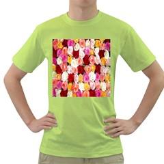 Rose Color Beautiful Flowers Green T-Shirt