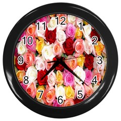 Rose Color Beautiful Flowers Wall Clocks (black)