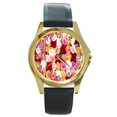 Rose Color Beautiful Flowers Round Gold Metal Watch