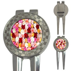 Rose Color Beautiful Flowers 3 In 1 Golf Divots