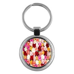 Rose Color Beautiful Flowers Key Chains (round)