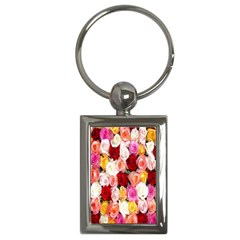 Rose Color Beautiful Flowers Key Chains (rectangle)