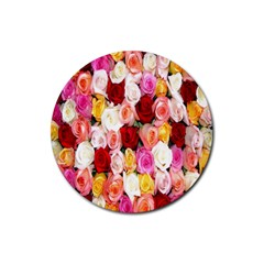 Rose Color Beautiful Flowers Rubber Round Coaster (4 pack)