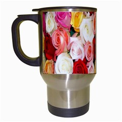 Rose Color Beautiful Flowers Travel Mugs (white)