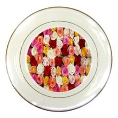Rose Color Beautiful Flowers Porcelain Plates
