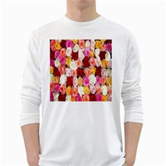 Rose Color Beautiful Flowers White Long Sleeve T Shirts