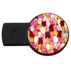 Rose Color Beautiful Flowers Usb Flash Drive Round (4 Gb)