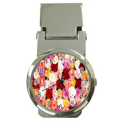 Rose Color Beautiful Flowers Money Clip Watches