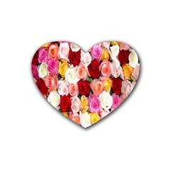 Rose Color Beautiful Flowers Heart Coaster (4 Pack)