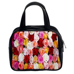Rose Color Beautiful Flowers Classic Handbags (2 Sides)