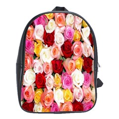 Rose Color Beautiful Flowers School Bags(Large)