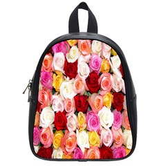 Rose Color Beautiful Flowers School Bags (small)