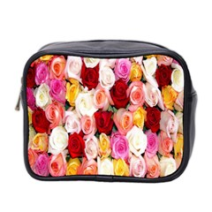 Rose Color Beautiful Flowers Mini Toiletries Bag 2 Side