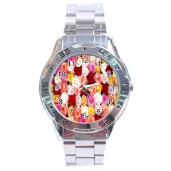 Rose Color Beautiful Flowers Stainless Steel Analogue Watch