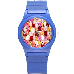 Rose Color Beautiful Flowers Round Plastic Sport Watch (s)