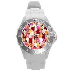 Rose Color Beautiful Flowers Round Plastic Sport Watch (l)