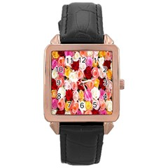Rose Color Beautiful Flowers Rose Gold Leather Watch
