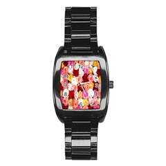 Rose Color Beautiful Flowers Stainless Steel Barrel Watch