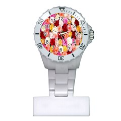 Rose Color Beautiful Flowers Plastic Nurses Watch