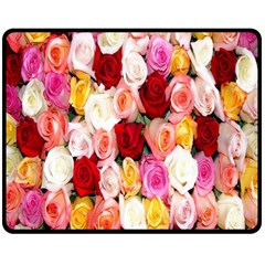 Rose Color Beautiful Flowers Double Sided Fleece Blanket (medium)