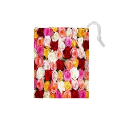 Rose Color Beautiful Flowers Drawstring Pouches (small)