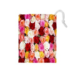 Rose Color Beautiful Flowers Drawstring Pouches (medium)