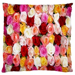 Rose Color Beautiful Flowers Large Flano Cushion Case (Two Sides)