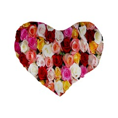 Rose Color Beautiful Flowers Standard 16  Premium Flano Heart Shape Cushions